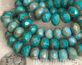 8mm x 6mm Czech Glass Picasso Bead Spacer Rondelle Donut (25) Light Turquoise Dark Western Blue Mix - Bohemian Rustic - Central Coast Charms