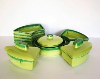 california pottery duotone verde lazy susan set