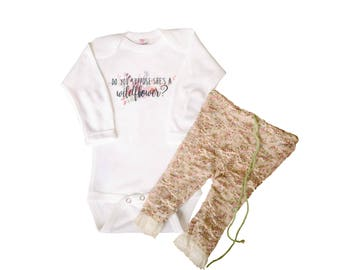 Trendy baby girl clothing, do you suppose she's a wildflower, newborn gift, unique infant clothes, wilderness one piece, shabby chic romper