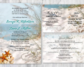 Beach wedding invitation Etsy