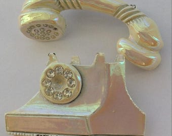 ON SALE Vintage Two Piece Phone Brooch Iridescent