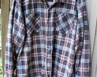 Funky Flannels/ XL Flannel Shirt/Vintage Grunge Flannel/ Gray, Blue, White Plaid/ Plus Size Shirt/ Thrifted Flannel Shirt/ Shabbyfab Funwear