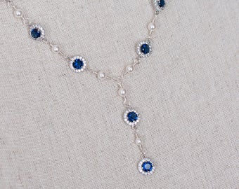 Bridal Necklace, Bridal Pearl and Blue Sapphire Necklace, Something Blue Y Necklace, Wedding Jewelry,Bridal Jewelry, Sapphire Pearl Necklace