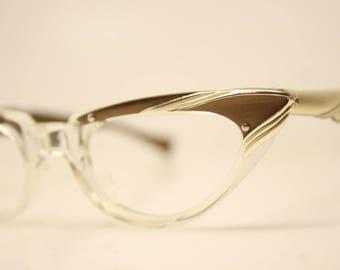 Child Size Unused Vintage Cat eye glasses Brown Clear cat eye frames NOS