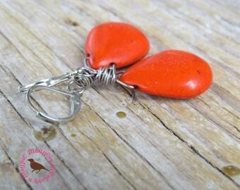 Orange Turquoise Teardrop Statement Earrings, Orange Turquoise Statement Earrings, by MagpieMadness for Etsy
