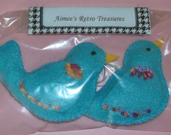 Hand Crafted Felt Embroidered Bird Ornaments - 2 Blue