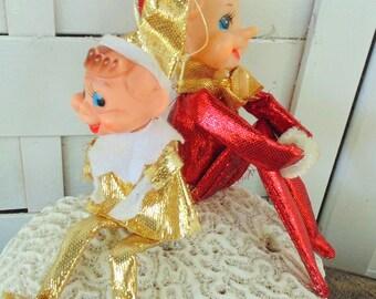 Pixie Elf. vintage 1950s. CHRISTMAS Decoration. 2pcs. Rubber Face. ELF. Knee Hugge. Pixie. Decoration. Shelf Sitter Elf.  Knee Hugger Pixie.