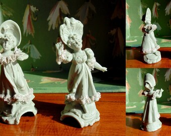 Victorian FIGURINES. Parian Ware. Parian Figurine. Miniature Figurine. Lace. Ladies. Lace Girls. antique decor. 19th Century. vintage. 1800s