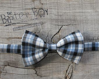 Blue & Black plaid bow tie for little boys - pre-tied, photo prop, wedding, ring bearer, accessory