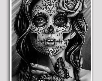 30 PERCENT OFF Serenity - 18x24 inch Poster Sized Art Print - Pretty Tattoo Art Day of the Dead Sugar Skull Calavera Girl Poster