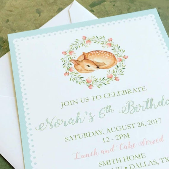 Baby Deer Fawn Invitations