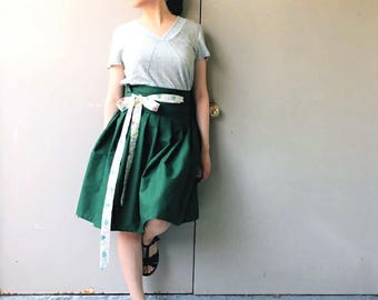 Eco Emerald: Floral Green Wrap Skirt