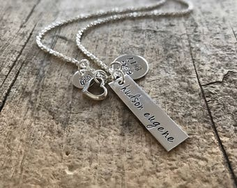 Sterling Silver Baby Name Necklace, Mommy Necklace, Baby Birth Necklace, Mom Gift, Mother Daughter, Mother Son, Personalized Baby Necklace