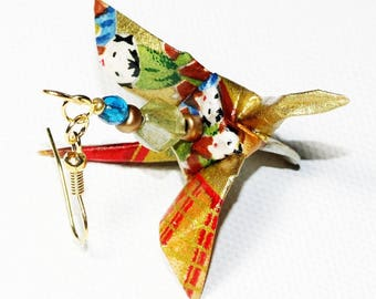 Earrings golden cranes with Japanese motifs, ORIGAMI