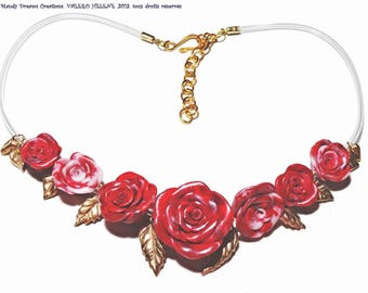 Necklace, red roses and pearl with golden bronze crafts