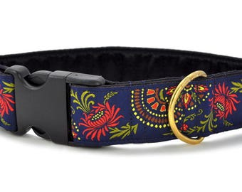 "Ready-to-Ship: Flower Burst Jacquard in Navy - 1.5"" Buckle Collar - LARGE - Brass Hardware"