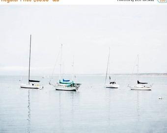 "SALE Sailboat Wall Art, Nautical Decor, Gray White Minimalist, Boat Wall Art, Nautical Wall Art, Sailboat Print, Boat Photograph ""Set Sail"""