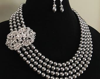 Ready to Ship Charcoal Grey Pearl Necklace Set and Earrings 4 multi strands Dark Grey Swarovski Pearls Art Deco Gatsby mother of the Bride