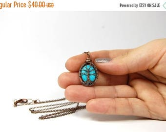 20% OFF Vacation SALE Miniature Small Tiny Itty Bitty Oval Turquoise Tree of Life Necklace in Antique Copper.