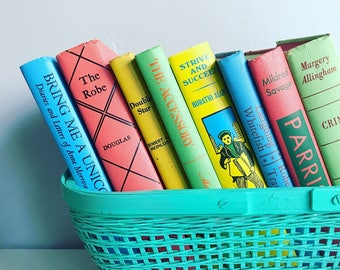 Vintage Colorful  Books by the Foot Instant Library Decorative Book Stack Custom Rainbow Books for Wedding, Bookshelves , Display Etc.