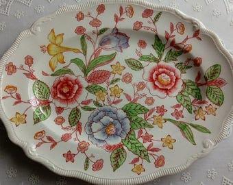 Vintage Platter Johnson Brothers Bros English Bouquet Scalloped Oval Platter Floral Transferware Platter for Vintage Wedding