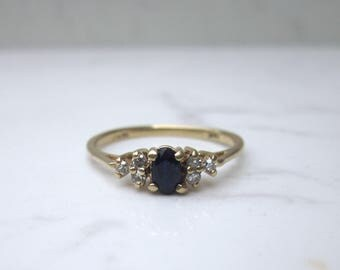 Estate Sapphire and Diamond Ring Set in 14k Solid Yellow Gold, Size 7
