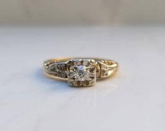 Antique Old European Cut 14k Yellow Gold and White Gold Ornate Illusion Setting, Size 7