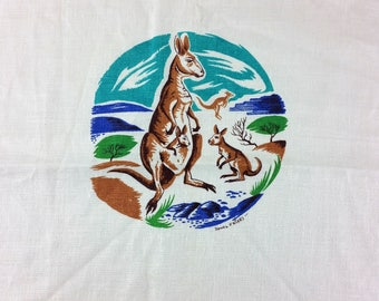 Vintage Kangaroo Australia Linen Kitchen Tea Towel Made in Ireland Rowel Friers