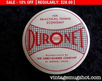 """Christmas In July SALE DURONET Vintage Collectible Tennis Mirror Probably 40'-50's Tennis Net Abbey-Scherer Company 3 1/2"""""""