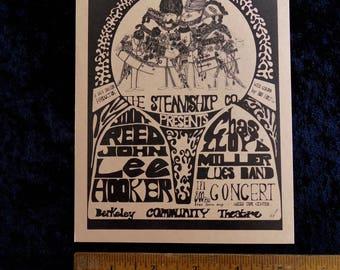 1967 Jimmy Reed John Lee Hooker Blues Handbill  Original Berkeley Community Theater Steve Miller