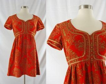 Vintage Sixties Dress - 1960s Red Mini Dress - 60s Mod Print Corduroy Dress - Small
