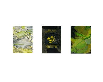 Green and black abstract watercolor print, small modern wall art, Planet X Triptych