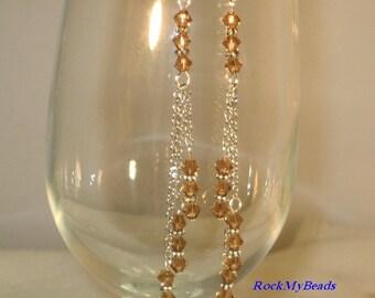 Swarovski 3-Tier Light Smoke Topaz Chain Earrings,Earrings,Jewelry,Chain Earrings,Swarovski Earrings,Crystal Earrings,Chandelier Earrings,