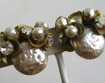 Vintage 40s Miriam Haskell Signed Baroque Pearl Rhinestone Clip Earrings