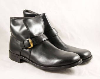 Size 12 Men's Boots - Glossy Black Patent Leather Boots - Mod Mid Century Footwear - Brassy Buckles - 1950s 1960s Deadstock - 12D - 47683