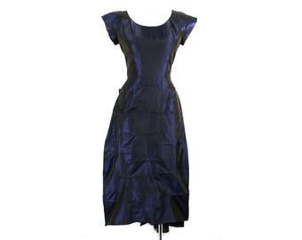 Size 8 1950s Cocktail Dress - Sapphire Blue Iridescent Shotcloth Taffeta - 50s Swagged Bustle & Pinch Pleats - Unusual - Waist 26.5 - 49293