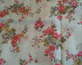 Floral Print  Light Weight Cotton Polyester Blend Fabric 1 1/2 Yards