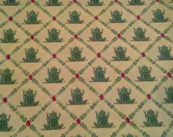 Waverly Screen Print Ribbit Green Frogs on Yellow 1 3/4 Yards X0975