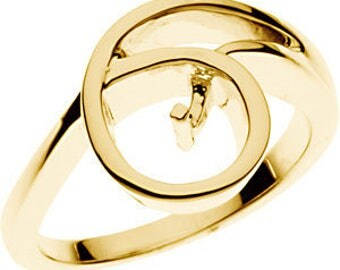 Ring Mounting for Pearl in 14k solid Yellow Gold