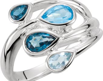 Sky Blue Topaz, London Blue Topaz & Swiss Blue Topaz Bypass Ring, also available as blank