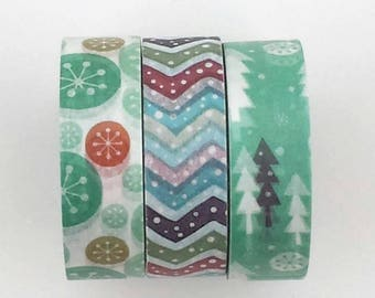 Teal washi tape snow forest trees aqua/winter Christmas planner journal craft scrapbook swap mail package - Lillibon