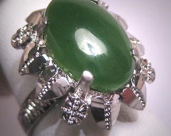 Vintage Jade Ring Retro Art Deco Setting 1950