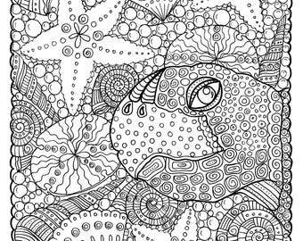 5 pages Digital coloring Sea Turtle Adult Coloring/sea/turtle/beach/marine life/digi stamp/coloring book/coloring pages