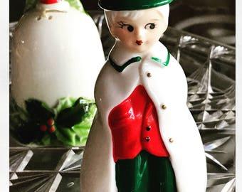 Two 1950s Josef Originals Christmas Bells / Vintage Christmas Bells /Christmas Caroler Dinner Bell /  1950s Christmas Decor / Japan