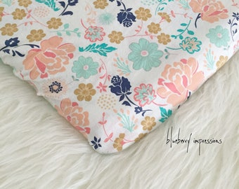 Coral Floral Cotton Pack 'n Play Fitted Sheet, Playard, Playpen, Nursery Linens, Baby Girl Bedding, Coral, Mint, Navy, Matte Gold