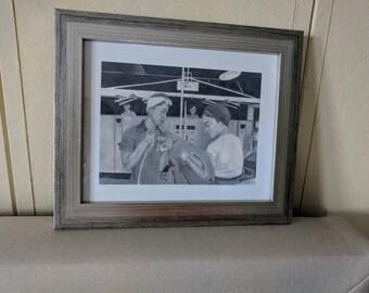 Black Rosie the Riveter -  Framed Pencil Drawing - Women At Work 8.5 x 11 Print