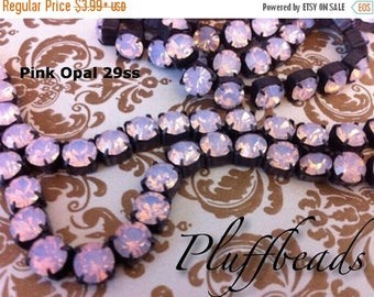 SALE Rustic Flea Market Style 6.1mm 29ss Large Chunky Dark Brown/black Patina brass PINK OPAL Rhinestone crystal cup chain 6.1mm 29ss