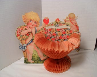 Antique Beistle Company 1925 Cupid or Angel Honeycomb Urn Valentine's Day Decoration Card