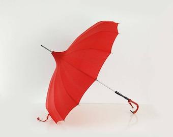 Vintage Red Italian Umbrella / Pagoda Style Folding Parasol