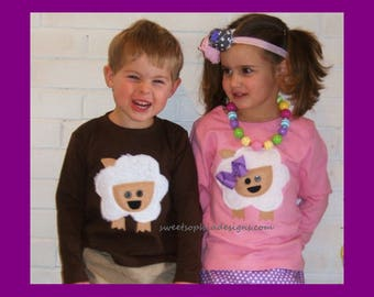 Lamb Shirt, Lamp appliqué Shirt for Girl or Boy - Infant Toddler Youth Sizes - Easter Clothing - Buy 3 Listings Get 2 FREE